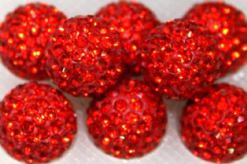 12mm Red 130 Stone Pave Crystal Beads - Half Drilled  PCBHD12-130-009